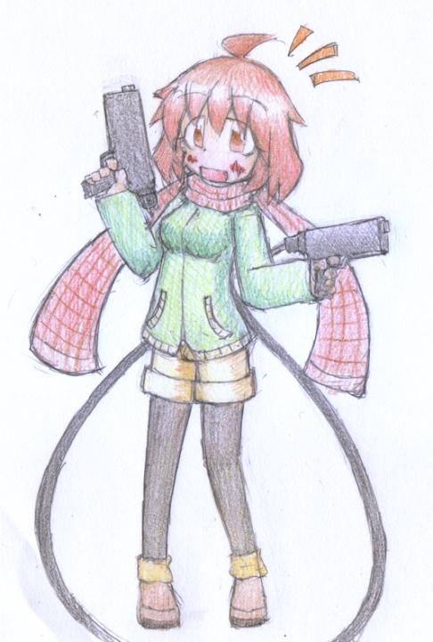 二丁拳銃 イラスト Unispot